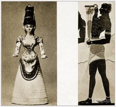 Ancient Greece Costumes. Minoan Snake Goddess costume. Greek Fresco Cup-Bearer.