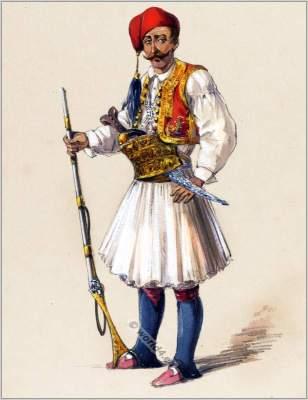 Ottoman empire clothes. Traditional fustanella dress. Albania national costume. Amedeo Preziosi.