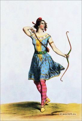 Amazon female warrior. Ancient costume.