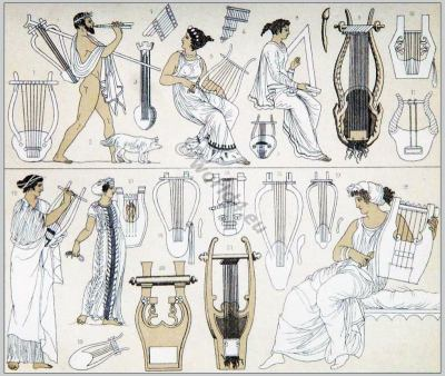 Greek costumes. Ancient Greece musicians and instruments. Lyra, Harp,