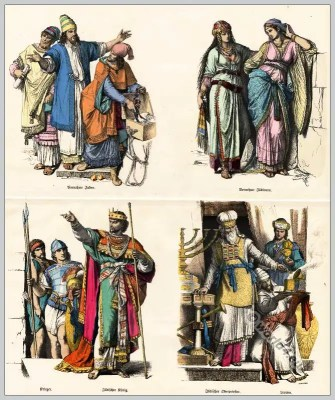 Jew costumes. Ancient. Jewish Clothing.  Noble Jewish women. Jewish warriors.  Jewish King.  Jewish high priest. Levites.