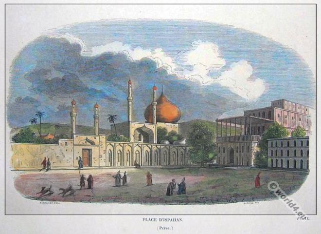 Esfahan architecture, Mosque, Meidun-e Emam. Ali Qapu Palace. Persian building.