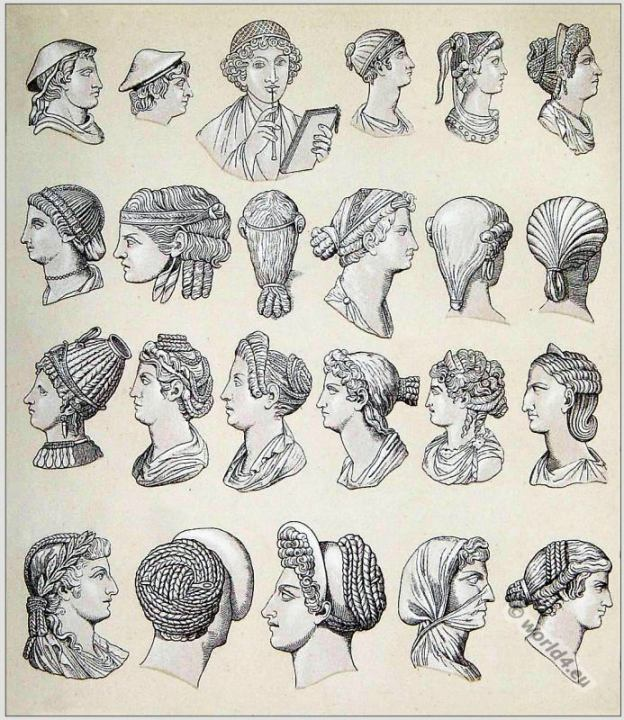 Ancient Roman hairstyles and head-dresses. The petasus. The pileus. The infula, or mitre