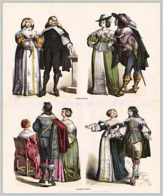 French Musketeer costume. Nobility Baroque costumes 17th century. Court dress.