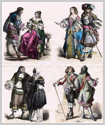 French Musketeer costume. Nobility Baroque costumes 16th century. France Court dress.