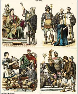Carolingians costumes of Maid of honor, Prophetess. Knight in armor, Bishop, Nobleman, Troubadour, Minstrel, Duke, King, Queen, General, Peasants.