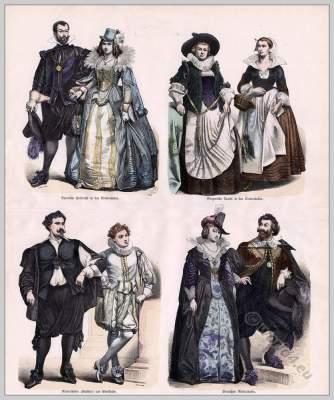 Netherlands Baroque costumes. Dutch 17th century fashion. Nobility clothing.