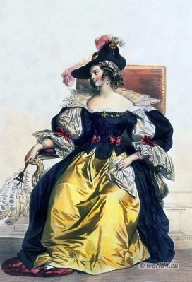 French woman costume 17th century. Baroque fashion.