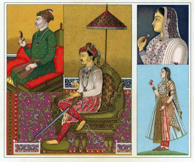 Akabar costume. Jahangir. Indian Mughal Empire costumes. India traditional costumes. Auguste Racinet