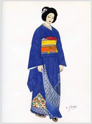 Traditional Japan national costume. Antique kimono.