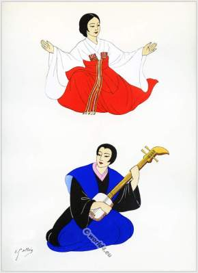 Traditional Japan national costumes. Antique kimonos. Court dresses. Japanese musical instrument