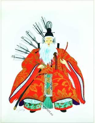 Traditional Japan national costumes. Antique kimono. Court warrior. Samurai.