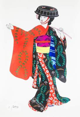 Traditional Japan national costumes. Antique kimono. Odori dance costume