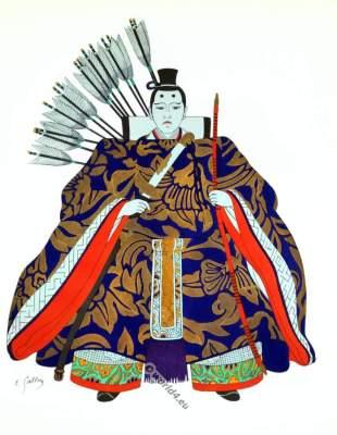 Traditional Japan national costumes. Antique kimono. Court warrior dress.