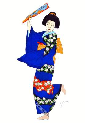 Traditional Japan national costumes. Antique kimono. Japanese Geisha costume.