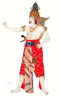Traditional Java national costumes. Krishna dancing costume.