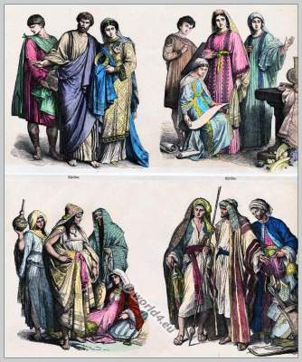 Early Christian costumes. Early Arabian clothes. 4th, 6th century fashion. Middle East dresses.