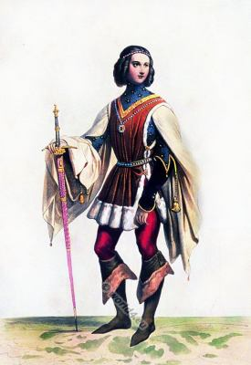 Burgundian fashion, Gothic nobility costume. Middle ages warrior character design