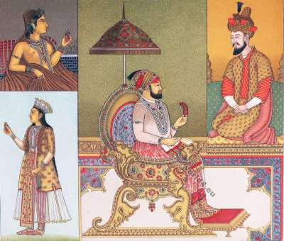 Moghul Emperor. Farrukhsiyar. Babur. Costumes. Auguste Razinet