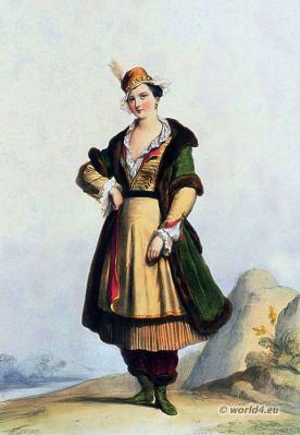 Poland national costume. Polish lady. 17th century. Baroque period fashion.
