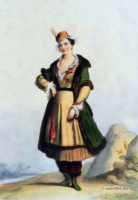 Poland national costume. Polish lady. 17th century. Baroque period fashion.