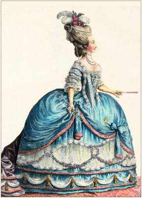 Marie Therese of Savoy, French Ancien Régime fashion. French Rococo costumes. Hoop skirt, Farthingale. Le Pouf.