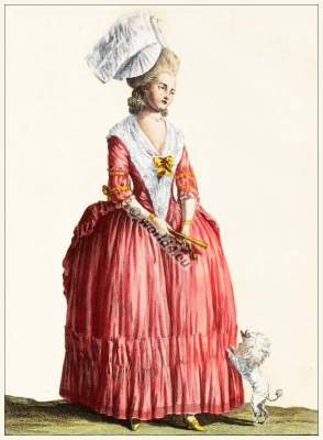 Taffeta dress. French rococo style. Costume designers, film and theater costume source research