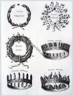 Ancient Roman crowns and wreaths. Corona triumphalis, Corona obsidimalis, Corona civica, Corona muralis, Corona castrensis, Corona navalis