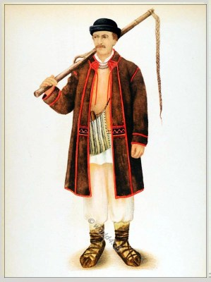 Romanian Bihor folk costume. Romania Transylvania national costumes. Traditional embroidery pattern