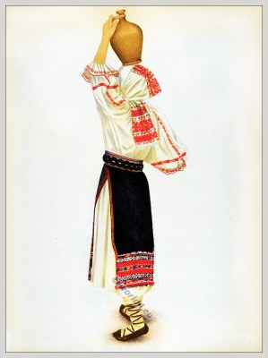 Romanian Mureș folk costume. Romania Transylvania national costumes. Traditional embroidery patterns