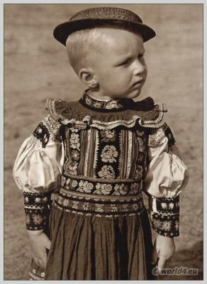 Boy in traditional costume from Dobrá Niva, Slovakia. Slovakian national costume