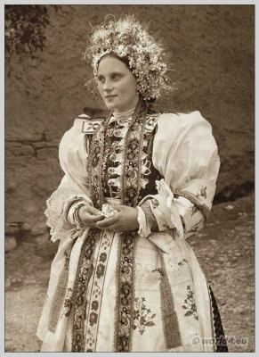 Slovakian girl. Carpathian Bride. Liptovské Sliače. Traditional wedding costume. Beautiful embroidery design.