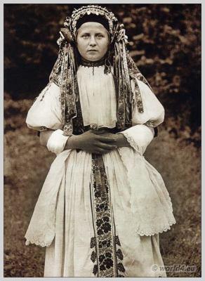 Slovakia. Traditional wedding costume. Slovakian national costume. Bošáca.