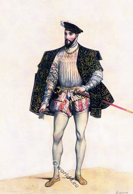 16th century costume. Henry II. King of of France. silk stockings. Renaissance fashion.