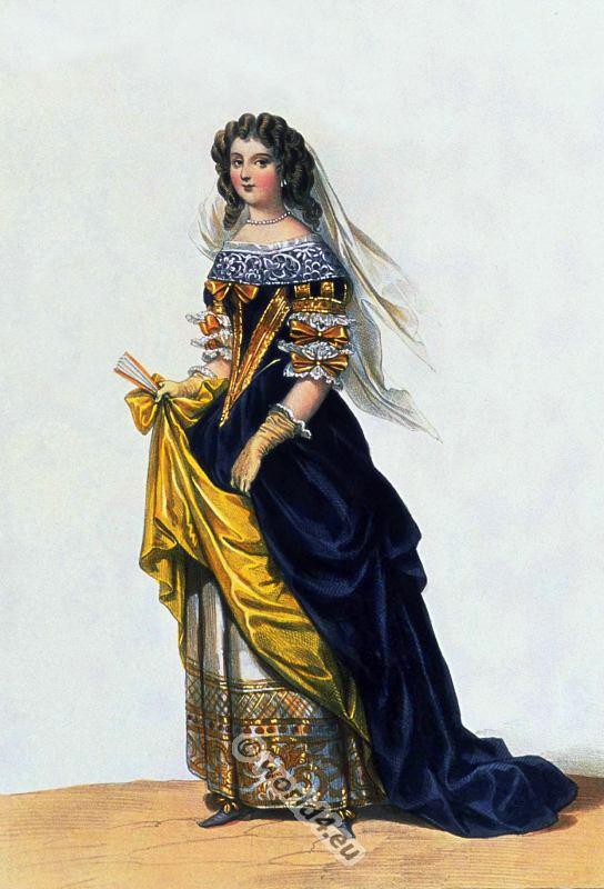 17th century clothing french nobel lady costume history