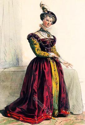 Tudor costume. Renaissance era clothing. 16th century fashion.