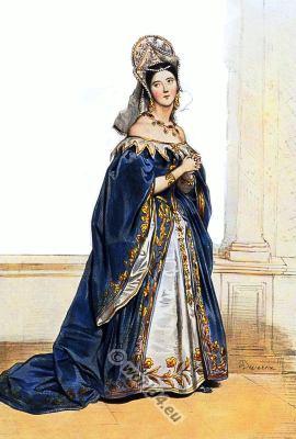 English lady in tudor costume. Renaissance clothing. England medieval court dress