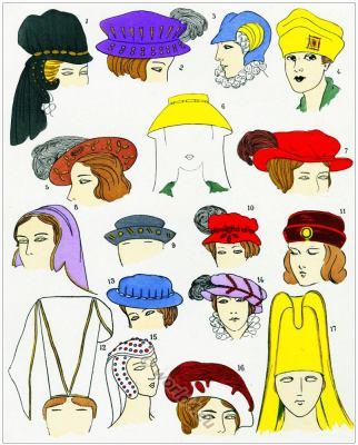 Renaissance hats design. Chapeaux de la Renaissance. 16th century fashion history.