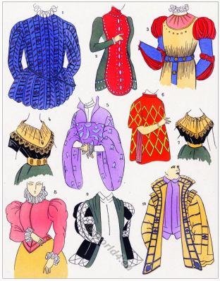 Renaissance bodices design. Corsages. 16th century fashion.