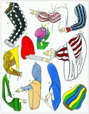 Renaissance sleeves fashion. Les modes de la renaissance. Manches. 16th century