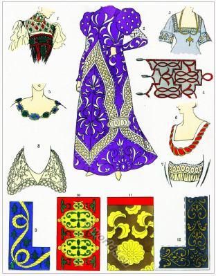 Renaissance lace design. Broderies, Dentelles. 16th century fashion.