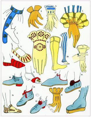 Renaissance shoes. Colifichets. 16th century fashion.