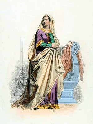 Carolingian costumes. Medieval woman costume. Middle ages clothing.