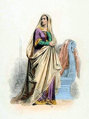 Middle Age, costume, 9th century, clothing, Carolingian, fashion,