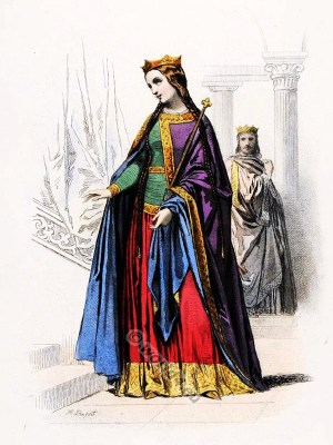 Carolingian queen costumes. Carolingian King clothing. Medieval fashion..
