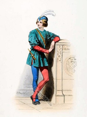 Page, court, Medieval, Burgundy, costume, Middle ages, clothing