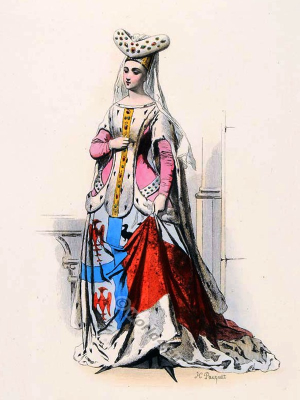 Jacqueline de la Grange. French medieval clothing. Burgundian Fashion. Middle ages ceremonial robes. Goth clothing. Womens clothes in the middle ages