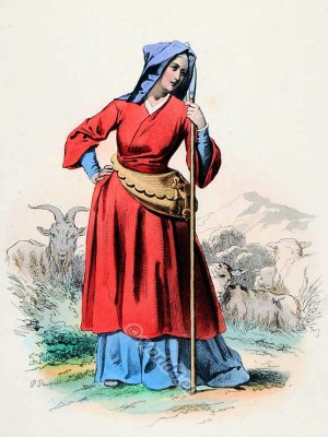 French Medieval Gothic woman clothing. 15th century fashion. Shepherdess costume