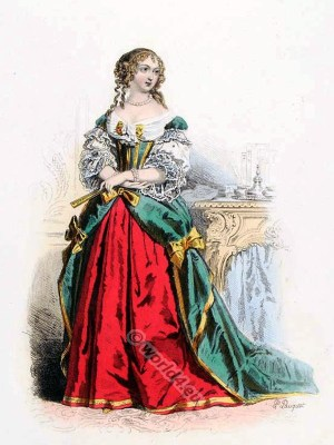 Baroque costumes. 17th Century clothing. Louis XIV fashion. Court Dress in Versailles. Françoise-Marguerite de Sévigné