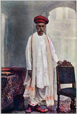 Indian national costume. Traditional Hindu Brahman clothing.